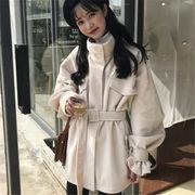 韓国 スタイル ファッション レディース 中長スタイル 無地 ダッフル コート アウター