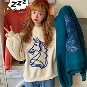 韓国 スタイル ファッション レディース 韓国風 刺繍 長袖 スウェット トレーナー パーカー トップス