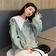 韓国 スタイル ファッション 無地 長袖 裏起毛 スウェット トレーナー パーカー トップス