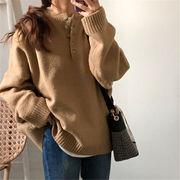 韓国 スタイル ファッション レディース 無地 カジュアル ニット 編み織 セーター