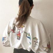 韓国 スタイル ファッション 原宿 刺繍 長袖 スウェット トレーナー パーカー トップス