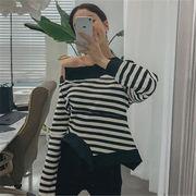 2018 秋 冬 韓国 スタイル ファッション 不規則 ボーダー柄 長袖 スウェット トレーナー パーカー トップス