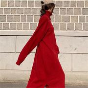 2018 秋 冬 韓国 スタイル ハイネック スリット ニット 編み織 セーター ワンピース