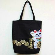 和柄トートバッグ マネキ猫 招き猫トート コットンバッグ 日本のお土産