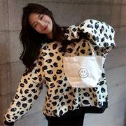 韓国 スタイル ファッション レオパード柄 長袖 裏起毛 スウェット トレーナー パーカー トップス