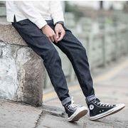 秋冬新作メンズジーンズ♪裏起毛 パンツ大きいサイズ シンプル おしゃれ♪ブルー/ブラック2色