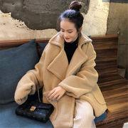 韓国 スタイル ファッション 厚手 無地 フリース ジャケット スタジャン アウター