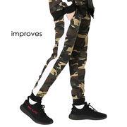 【improves】迷彩柄サイドラインパンツ ジョガーパンツ カモフラージュ 裏毛スウェットパンツ