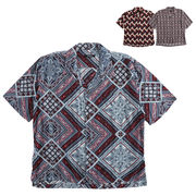 【2018SS新作】メンズ 総柄オープンカラー 半袖シャツ