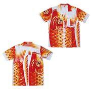 日本製 made in japanアロハシャツ 赤 L 箔入 178210