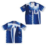 日本製 made in japanアロハシャツ 青 XL 箔入 178302