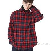 チェックシャツ 長袖 チェック柄 シャツ ネルシャツ 赤 黄 メンズ インプローブス 韓国