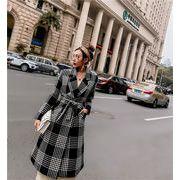 秋 冬 ボトムス レディース エレガント  韓国ファッション   格子縞   中・長セクション   ウールコート