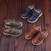 春秋 ツーリング 通気 児童 靴 英国スタイル 革靴 男児 ピーズ靴 ベルクロ カジュア-続く(1)