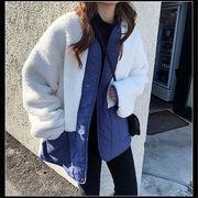韓国 スタイル ファッション 秋 冬 カジュアル 切り替え フリース ジャケット