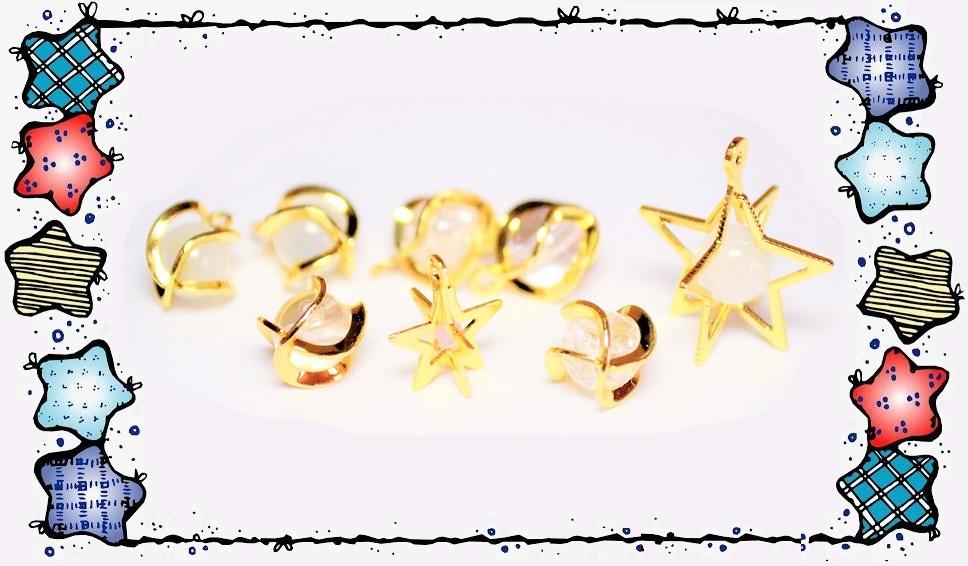 【宇宙雑貨】銅製高品質 立体星チャーム 立体ラウンドパーツ 星のペンダント