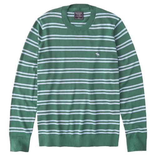 正規品 アバクロ メンズ セーター Abercrombie&Fitch The A&F Icon Crewneck Sweater (グリーン)