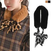 フェイクファー ティペット レオパード 豹柄 リボン マフラー レディース 大きいサイズ 秋物 冬物