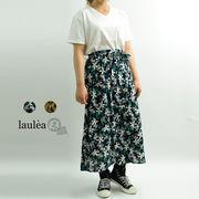花プリント共ヒモ付前釦83丈スカート