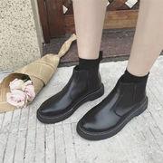 【レビュー好評】女性/イギリススタイル/韓国語バージョン/冬新/フラットチェルシー/ショートブーツ