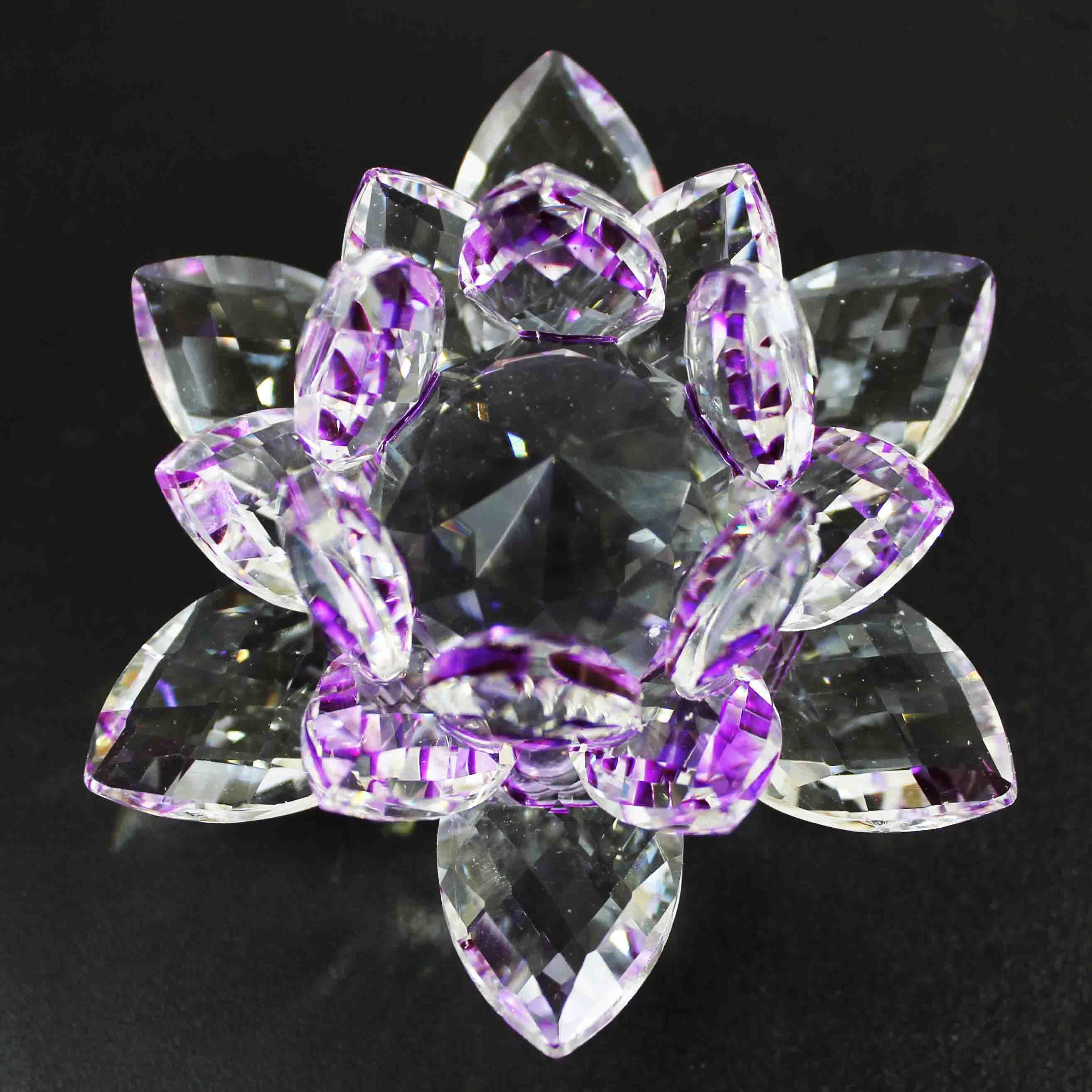 クリスタルガラス蓮花台 パープルカラー 大サイズ  品番: 10155