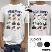 ユニセックス オーロラ反射 寿司柄Tシャツ