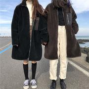 冬 韓国 新しいデザイン ルース 何でも似合う 模倣します 子羊ウール 手厚い 単一色