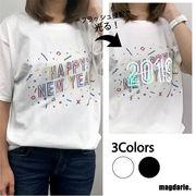 ユニセックス オーロラ反射 ハッピーニューイヤー ロゴTシャツ
