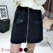 PUポケット付きジップアップリブミニスカート:レッド/ブラック_OML9263