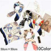 レディース スカーフ シルク調 正方形 ネッカチーフ オフィススカーフ ヘアバンド ブレスレット uvカット