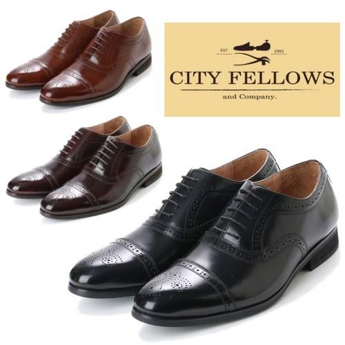【CITY FELLOWS】(シティーフェローズ) 内羽根式 セミブローグ レースアップ レザー ビジネス シューズ