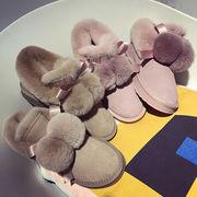 スノーブーツ 女 新しいデザイン 韓国風 毛玉 かわいい ファッション スキッド コット