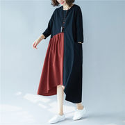 レーディス ゆったり 無地切り替え 不規則デザイン ロングワンピース  Y834【洋服】