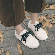 ピーズ靴 女 新しいデザイン 韓国風 リボン ペダル ふわふわシューズ ネット レッド