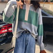 初回送料無料 2019 ハングルセレブstyle 配色 長袖 ニット セーター 全3色 春冬 新作