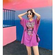 【春夏新作】ファッションTシャツ♪ブルー/ピンク2色展開◆
