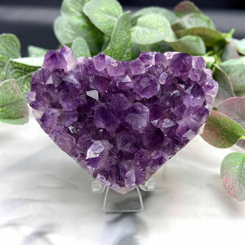 【即納 実物撮影】アメジスト ハート クラスター 濃いめパープル 紫水晶 原石 ブラジル産