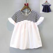 女子供服 夏 新品 かわいい 王女 人形のドレス ストライプス カレッジ風 半袖 + ワ