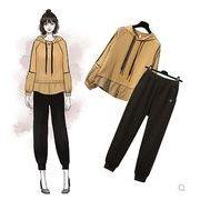 【大きいサイズXL-5XL】ファッション/人気/上下セットトップス♪カーキ/ブラック2色展開◆