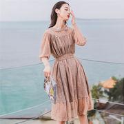 春に入る前の準備 大人の魅力 上品 女性らしい 韓国ファッション 背透けて  セクシー ビーチホリデードレス