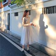 2019新しい 甘い 初恋の感じ 気質 女性 可愛い  韓国ファッション スリム  縫付   ボトミングドレス  女性