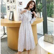 ★この季節に大活躍大人の魅力★ 韓国ファッション  CHIC気質  人形の襟  小さい新鮮な  長袖  ドレス