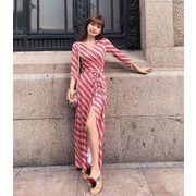 2019大人気新作 春の新製品発売  韓国ファッション  新着   Vネック  スプリットビーチホリデードレス