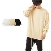 【2019春夏新作】メンズ USAコットン ポケット 裾 スピンドル コード ビッグ ロンT カットソー