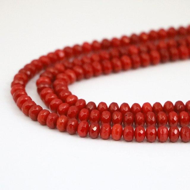 コーラル(さんご)赤色【ボタンカット】4×6mm【天然石ビーズ・パワーストーン・ネコポス配送可】