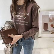 2019春夏新作【大きいサイズ有り】プリント英字ロゴ長袖Tシャツ_584582240351