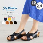 【joy walker】 レディースサイズ クロスベルト ウエッジ サンダル 7色