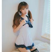 【即日出荷】紺色リボン セーラー服 スクール水着 コスプレ衣装【6180】