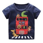 北欧柄 キッズ 半袖Tシャツ 動物バス