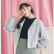 春季新作 アウター 純色 フリル 韓国 ショットタイプ コート 学生 トップス